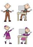 Homem e mulher de trabalho da vara do negócio ilustração stock