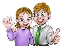 Homem e mulher dos desenhos animados dos pares Fotografia de Stock Royalty Free