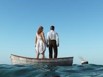 Homem e mulher em um barco ilustração stock