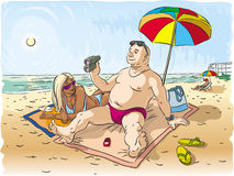 Homem e mulher na praia Fotografia de Stock Royalty Free