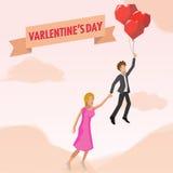 Homem e mulher no amor do balão Ilustração Royalty Free
