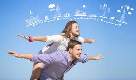 Homem e mulher no azul Fotografia de Stock Royalty Free