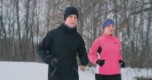 Homem e mulher novos dos pares da família em um movimento da manhã na mulher da floresta A do inverno em um revestimento fraco um video estoque