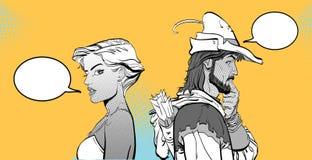 Homem e mulher Pares que pensam sobre algo Pares surpreendidos Menina moderna e legenda medieval Robin Hood Defensor de ilustração stock