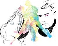 Homem e mulher, que amam o disco Imagem de Stock