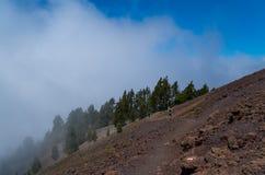 Homem e mulher que correm na fuga vulcânica, La Palma, Espanha Imagem de Stock Royalty Free