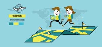 Homem e mulher que correm no mapa Conceito do curso do mundo ilustração stock