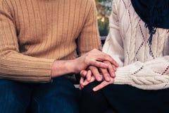 Homem e mulher que guardam as mãos no parque Fotografia de Stock