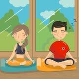 Homem e mulher que sentam-se no assoalho na posição de lótus, par que medita na frente do vetor colorido da janela ilustração royalty free