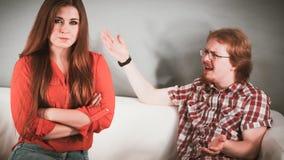 Homem e mulher que têm a luta imagens de stock royalty free