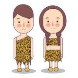 Homem e mulher que vestem o vestido tribal do traje feito da pele do leopardo do tigre Era nativa africana do pre-historice do tr ilustração do vetor