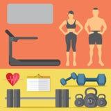 Homem e mulheres da ferramenta do Gym na ilustração saudável da vida do estúdio do gym fotografia de stock