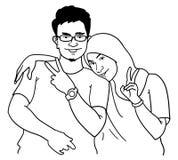 Homem e mulheres dos desenhos animados Foto de Stock Royalty Free