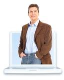 Homem e portátil fotografia de stock royalty free