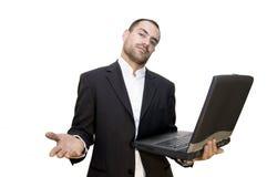 Homem e portátil Imagens de Stock