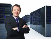 Homem e server Fotografia de Stock