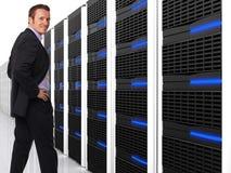 Homem e server 3d Imagens de Stock