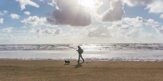 Homem e seu cão que andam na praia no por do sol ou no nascer do sol fotografia de stock