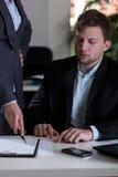 Homem e seu chefe Fotografia de Stock Royalty Free