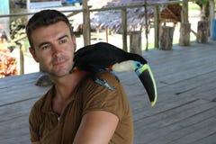 Homem e seu pássaro domesticado do tucano foto de stock royalty free