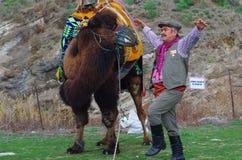 Homem egeu do dançarino popular que executa ao lado de um camelo imagem de stock royalty free