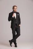 Homem elegante novo considerável que está no fundo do estúdio Foto de Stock