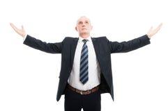 Homem elegante superior que levanta como um vencedor Imagem de Stock