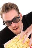 Homem em 3D-glasses fotografia de stock royalty free