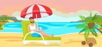 Homem em Chaise Longue com portátil ilustração stock