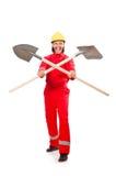 Homem em combinações vermelhas Imagens de Stock