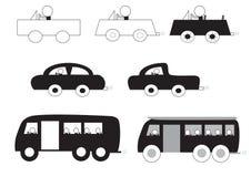 Homem em desenhos animados do carro e do ônibus Fotos de Stock