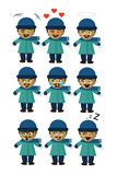 Homem em emoticons da neve nove emoções diferentes ilustração royalty free