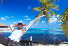 Homem em Maldives Imagens de Stock