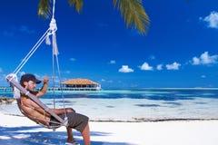 Homem em Maldives fotos de stock