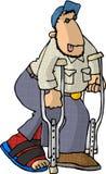 Homem em muletas ilustração royalty free