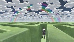 Homem em nuvens do enigma do labirinto ilustração royalty free