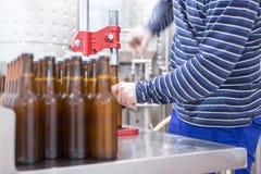 Homem em processo da fabricação de cerveja de cerveja Fotografia de Stock