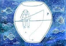 Homem em um aquário cercado por peixes ilustração royalty free