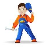 Homem em um capacete e em ferramentas Imagem de Stock