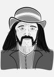 Homem em um chapéu com uma barba ilustração royalty free