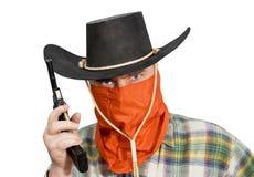 Homem em um chapéu de cowboy Imagens de Stock