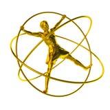 Homem em um simulador - um ouro do giroscópio ilustração stock