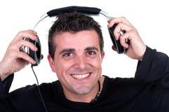 Homem em um terno que apresenta algo Fotografia de Stock Royalty Free