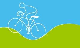 Homem em uma bicicleta Fotos de Stock Royalty Free