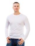 Homem em uma camisa branca com luvas longas Fotos de Stock