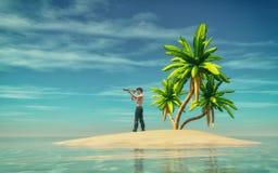 Homem em uma ilha tropical Foto de Stock Royalty Free