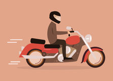 Homem em uma motocicleta Fotografia de Stock Royalty Free