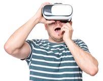 Homem em vidros de VR Fotos de Stock Royalty Free