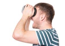Homem em vidros de VR Imagem de Stock Royalty Free