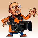 Homem emocional dos desenhos animados com uma câmera de filme Imagem de Stock